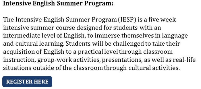 Intensive English Summer Program